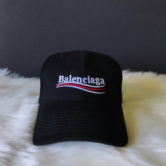 f5c457ea Balenciaga Accessories | Black Campaign Logo Cap Hat | Poshmark